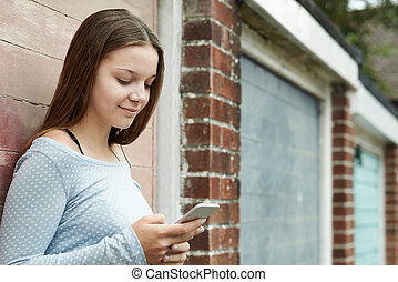 urbano, adolescente, móvel, texting, telefone, armando, menina