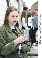 urbano, adolescente, telefone móvel, armando, usando, menina