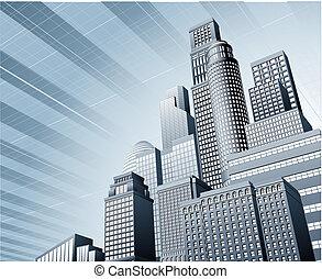 urbano, affari, fondo, città