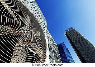 urbano, al aire libre, hvac, york nueva, aire, contidioner, manhattan, unidad