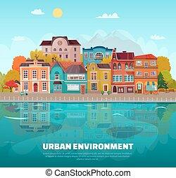 urbano, ambiente, plano de fondo