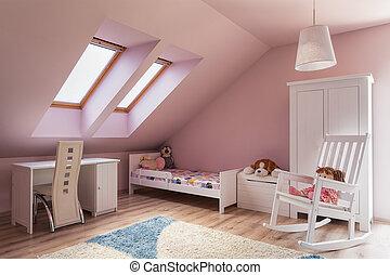 urbano, apartamento, -, habitación, niños