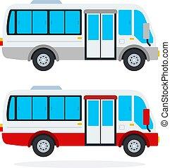 urbano, apartamento, minibus, isolado, vetorial