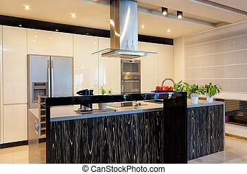 urbano, apartamento, mostrador, -, negro, cocina