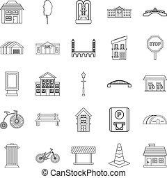 urbano, arquitectura, iconos, conjunto, contorno, estilo