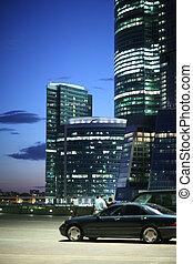 urbano, arquitetura moderna, negócio