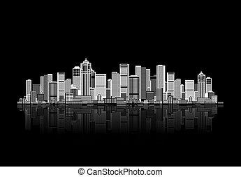 urbano, arte, desenho, fundo, cityscape, seu
