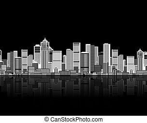 urbano, arte, seamless, desenho, fundo, cityscape, seu