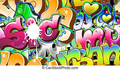 urbano, arte, seamless, fondo., grafiti, diseño