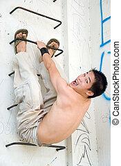urbano, asiatico, acrobata