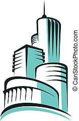 urbano, astratto, moderno, orizzonte, architettura