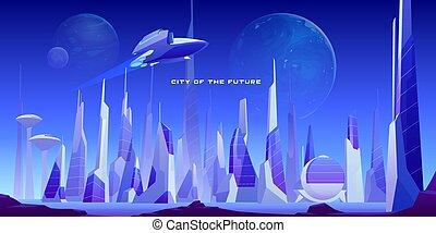urbano, astronave, città, futuristico, paesaggio