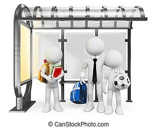 urbano, autocarro escolar, pessoas., ir, branca, crianças, 3d