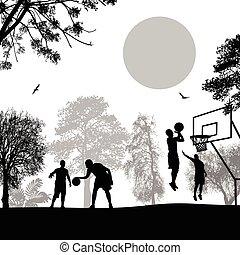 urbano, baloncesto, en, parque de la ciudad