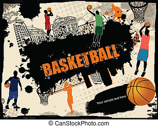 urbano, baloncesto, plano de fondo