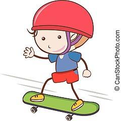 urbano, blanco, el skateboarding, plano de fondo, niño