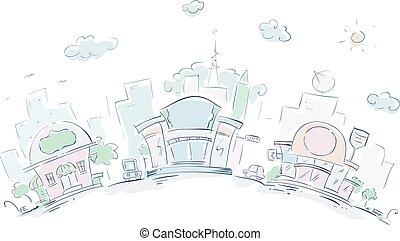 urbano, bosquejo, restaurantes