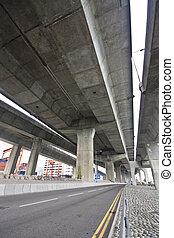 urbano, bridge., escena, debajo