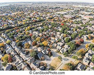 urbano, c, dallas, estação, topo, espreguice, outono, subúrbios, durante, vista