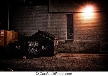 urbano, callejón, por la noche