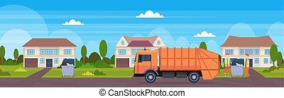 urbano, caricamento, immondizia, appartamento, campagna, casa, riciclaggio, moderno, arancia, concetto, camion, fondo, veicolo, cottage, sanitario, orizzontale, spreco, bandiera, bidoni