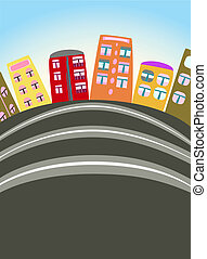 urbano, caricatura, escena