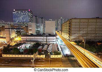 urbano, centro cidade, noturna