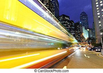 urbano, cidade, noturna, tráfego