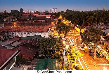 urbano, città, asia., cambogia, penh, orizzonte, phnom