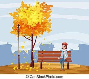 urbano, città, tazza, autunno, foglie, seduta, albero, isolato, panca, parco, caffè, vettore, illustrazione, sotto, ragazza, cadere, felice