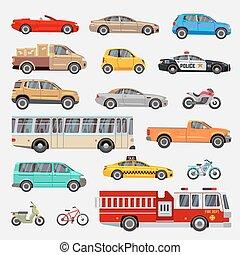 urbano, ciudad, coches, y, vehículos, transporte, vector, plano, iconos, conjunto