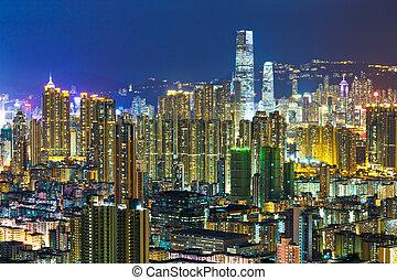 urbano, ciudad, en, hong kong