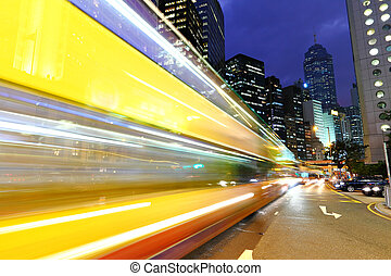 urbano, ciudad, noche, tráfico