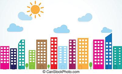 urbano, colorido, escena