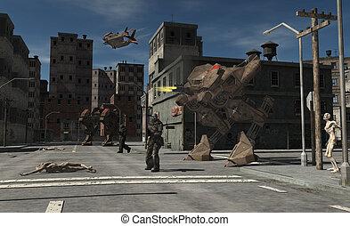 urbano, combate, patrulla, zombi, central