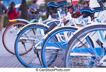 urbano, compartir, bicicleta, basura, bicycles, compartido, concept: