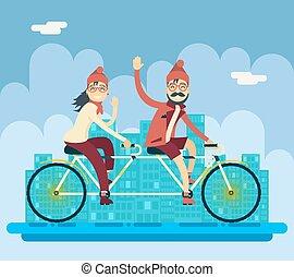 urbano, concepto, bicicleta, plano de fondo, ciudad, caracteres, tándem, calle, plano, compañero, vector, diseño, ilustración, hembra, equitación, hipster, macho, creativo, paisaje