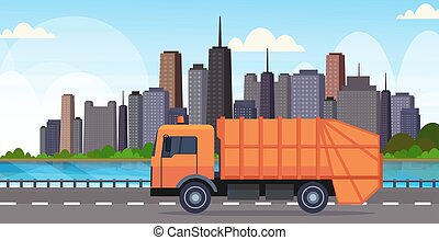 urbano, concetto, immondizia, città, riciclaggio, moderno, appartamento, arancia, sanitario, spostamento, fondo, veicolo, cityscape, camion, orizzontale, spreco, autostrada