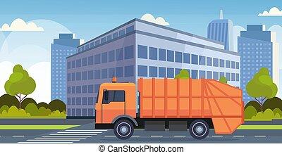urbano, concetto, sanitario, immondizia, città, riciclaggio, moderno, appartamento, arancia, vettore, spostamento, illustrazione, fondo, veicolo, cityscape, camion, orizzontale, spreco, strada
