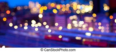 urbano, confuso, escena, noche