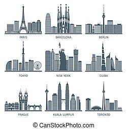 urbano, conjunto, contornos, iconos