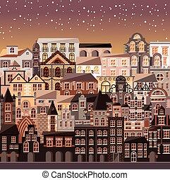 urbano, costruzioni, vecchia architettura, scena, case, collezione