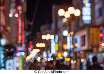 urbano, defocused, cena noite