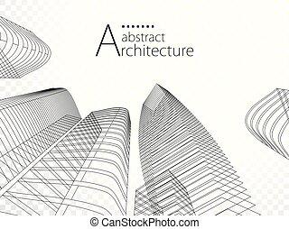 urbano, design., costruzione, moderno, illustrazione, architettura, 3d