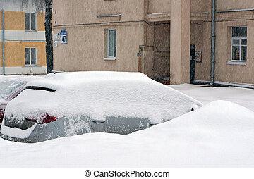 urbano, después, escena, snowfall.