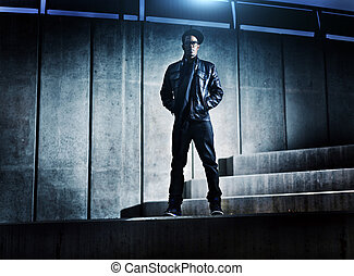 urbano, distopic, concreto, americano, passos, homem...