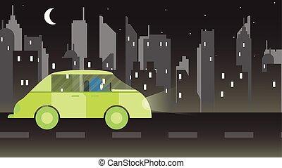 urbano, donna, città, automobile, star., guida, illustrazione, luna, vettore, verde, arabia saudita, night.