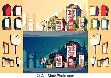 urbano, edifícios, jogo, ilustração, wall., grande, vetorial, billboard, caricatura, paisagem