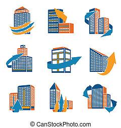 urbano, edificios, iconos