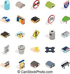 urbano, edificios, isométrico, iconos, conjunto, estilo